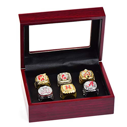 - HASTTHOU Set of 6 Alabamas Championship Replica Ring by Display Box Set- Fashion Gorgeous Collectible Jewelry