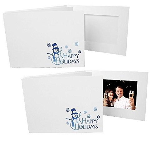 Happy Holiday foil Snowman on white cardboard 6x4 landscape photo folder frame Our price is for 25 units - 4x6 by SendAFrame