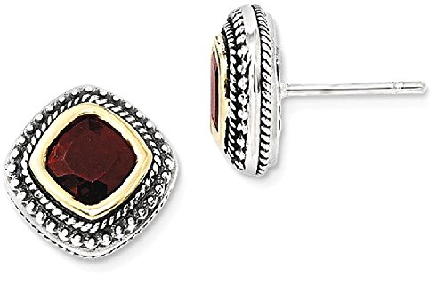 ICE CARATS 925 Sterling Silver 14k Red Garnet Post Stud Ball Button Earrings Fine Jewelry Gift Set For Women Heart by ICE CARATS