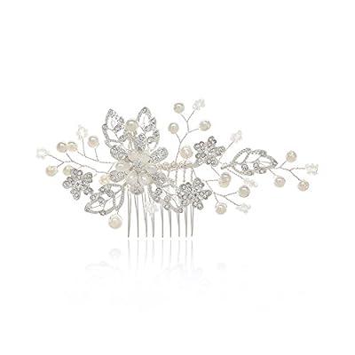 SWEETV Wedding Hair Comb Clip Pearl Hairpin Rhinestone Bridal Hair Accessories for Bride Women