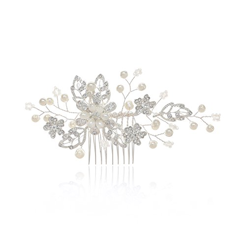 SWEETV Bridal Hair Comb Clip-Silver