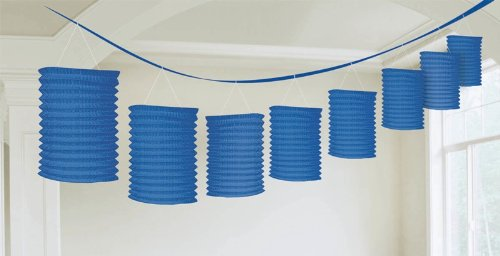 Traditional Hanging Accordion Lanterns Party Decoration, Royal Blue, Paper , 12', Pack of 8