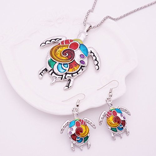 Turkish Enamel Sea Turtle Jewelry Set For Women Vintage Choker Big Turtle Necklace And Earring Set Animal Jewelry Accessories (Silver)