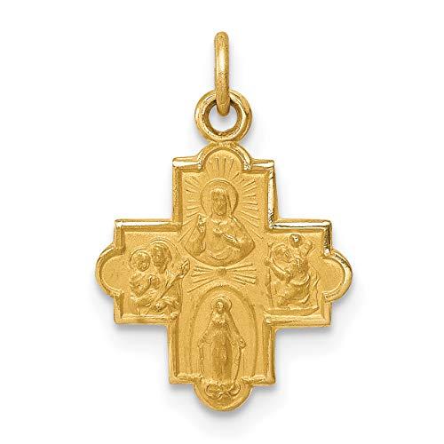 (14k Yellow Gold Satin Finish 4-Way Cross Cruciform Charm)