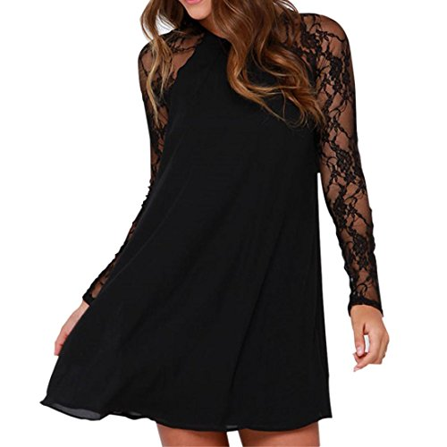 Mini robe, GreatestPAK Mode Femmes Dames Dentelle Mousseline de Soie Robe de Fte Noir