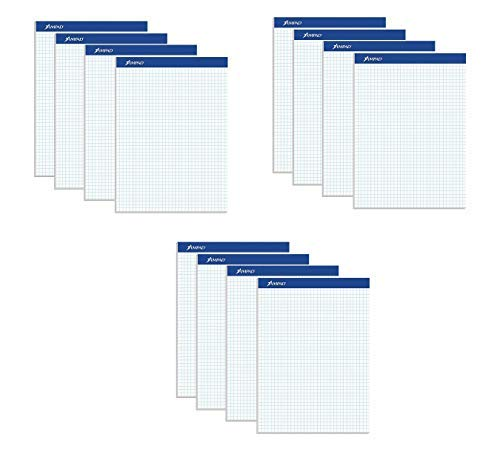 Ampad Evidence Quad Dual-Pad, Quadrille Rule, Letter Size (8.5 x 11.75), White, 100 Sheets per Pad, 12 Pack (20-210)