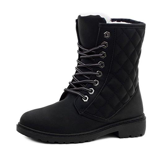 Damen Worker Boots Schnür Stiefel Stiefeletten in Lederoptik gefüttert - auch in Übergrößen Schwarz Steppmuster