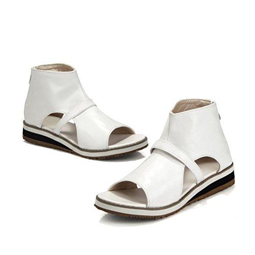 BalaMasa da donna Open toe cerniera solido low-heels sandali, Bianco (White), 38