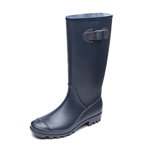 DKSUKO Womens Wellington Boots Mid-Calf Waterproof Field Rain Boots with Buckle Adjustable-Strap Outdoor Ladies Work Boots Women UK 3-8 Blue