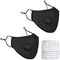 Reuseable Black Face Mask With Breathing Valve Shipped from USA | PM2.5 Activated Carbon Filter Pocket | Adjustable Nose Bridge Wire and Earloops | Prevents Harmful Particles (2 Masks + 4 Filters)