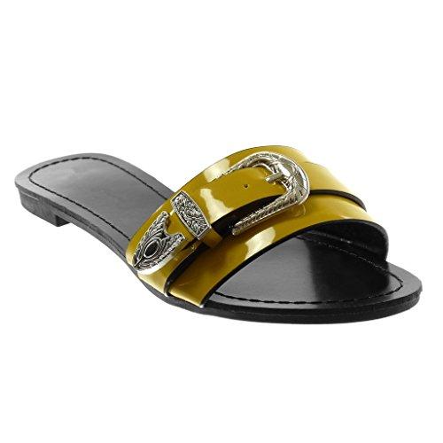 Boucle Jaune Mode Chaussure 5 Angkorly Femme Métallique Sandale on Bloc 1 CM Mule Talon Slip Verni q4Z0xCZ