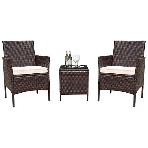 Flamaker 3 Pieces Patio Furniture Set Outdoor Wicker Patio Furniture Sets Cushioned PE Wicker Bistro Set Rattan Chair Conversation Sets with Coffee Table (Brown Wicker)