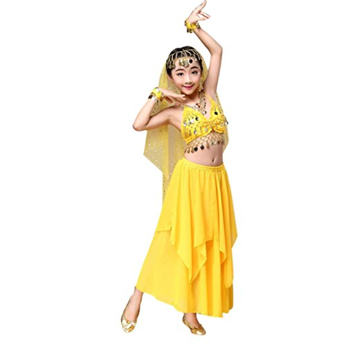 Kids' Girls Belly Dance Outfit(Clothes Top+Skirt ), SANNYSIS Costume India Dance Dress (M, Yellow)