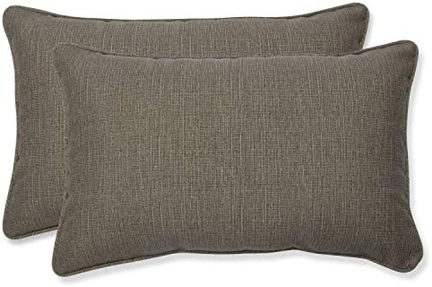 Pillow Perfect Decorative Taupe Textured Rectangle Solid Toss Pillows, 2-Pack