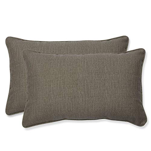 Pillow Perfect Decorative Taupe Textured Rectangle Solid Toss Pillows, 2-Pack ()