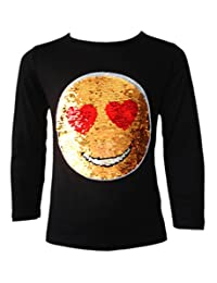 Kids Emoji Emoticon Smiley FACE Tops TEE TOP Brush Changing Sequin New Age 3-14