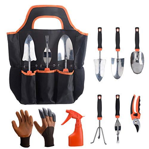 Garden Tools Set,Gardening Tools with Garden Gloves and Garden Tote ,9 Pieces Heavy Duty Gardening Kit cast Aluminum…
