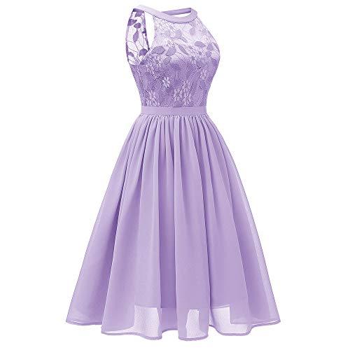 Women's Sexy Lace Floral Dress Vintage Princess Cocktail Neckline Party A-line Swing Dress Purple