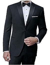 IKE Behar Black Slim Fit Tuxedo with Peak Lapel