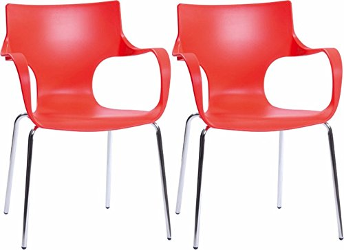 Mod Made Modern Contermporary Phin Arm Chair Dining Chair, Red, Set of 2 - Durable and easy to maintain Plastic with chromed steel legs Stackable for easy storage - kitchen-dining-room-furniture, kitchen-dining-room, kitchen-dining-room-chairs - 41wWca 4MJL -