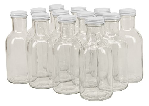 - North Mountain Supply 12 Ounce Glass Stout Sauce Bottle - With 38mm White Lids - Case of 12