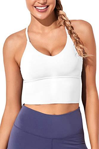 Women Sports Bras Longline Fitness Crop Tops Tank Gym Camisole Yoga Workout Running Shirts