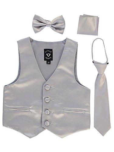Silver Big Boys 4 Piece Formal Satin Vest Set Zipper Tie Bowtie Hanky 10]()