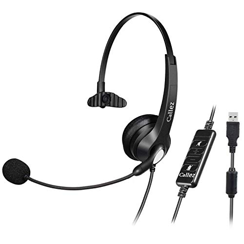 USB Headset with Microphone Noise Cancelling & Audio Controls, Wideband Computer Headphones for Business UC Skype Lync Softphone Call Center Office, Clearer Voice, Super Light, Ultra Comfort