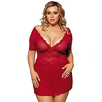 49e6310154a HITSAN Plus Size Chemises 5XL 3XL Women Babydoll Lingerie hot Underwear  Dress Big Size Lingerie Costumes 1 Red M  Amazon.in  Clothing   Accessories