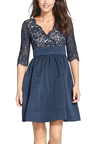 Berydress Women's 3/4 Sleeve 1950s Vintage Lace A-line Cocktail Dress 6006 (8, Navy)