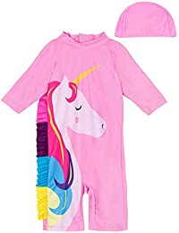 A&J DESIGN Toddler Girls Unicorn Swimsuit with Hat (Pink-1, 2-3 Years)