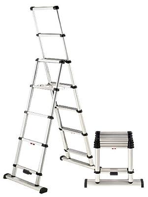 Telesteps 10ES OSHA Compliant 10 ft Reach Professional Wide Step Telescoping A-frame Ladder