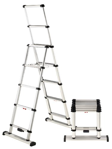 Telesteps 10ES OSHA Compliant 10 ft Reach Professional Wide Step Telescoping A-frame Ladder ()