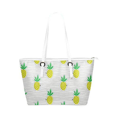 InterestPrint Modern Pineapple Juicy Fruit on Stripes Leather Tote Bags Handbags with Zipper for -