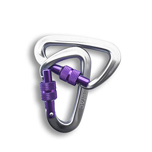 Serac #1 Ultra Strength Locking Carabiners x2 (one Pair), Ultra Durable & Strong Perfect Classic Single or Sequoia Double hammocks - Made from Ultralight Aircraft Grade Aluminum - Purple (Superlight Rock)