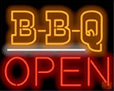 "New BBQ Open Barbeque Restaurant Neon Light Sign Display Beer Bar Pub Store Club Garrag Dealers Windows Garage Wall Sign 17w""x 14""h"