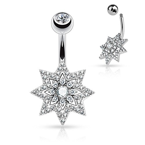 Micro Pave CZ Sunburst with Double Tier Round CZ Center Navel Ring