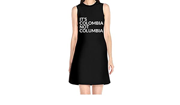 Womens Sleeveless Dresses Its Colombia Not Columbia O-Neck Midi Dress at Amazon Womens Clothing store: