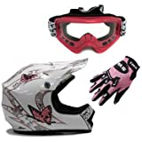 TMS Youth Kids White Pink Butterfly Dirt Bike ATV Motocross Off-road Helmet DOT with Goggles and Gloves (Small)