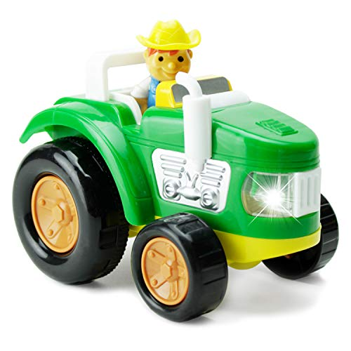 Green Farm Tractor - Boley Green Farm Tractor - Educational Light and Sound Toddler Vehicle - Perfect for Hours of Pretend Play