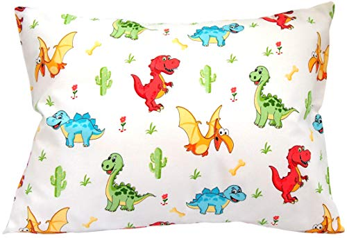 Toddler Pillowcase 13x18 by Comfy Turtles, 100 Natural Cotton, or Get a Smile from a Kid with Cute Animals of this Soft Pillow Cover for Boys and Girls (Multicolored Dinosaurus)