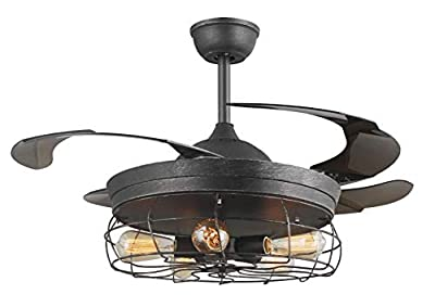 42'' Ceiling Fans Invisible Retractable Blades Farmhouse Industrial Pendant Lamp Chandelier Remote Control 5 Edison Bulbs (Antique Scrub Black) (Youtube video demo)
