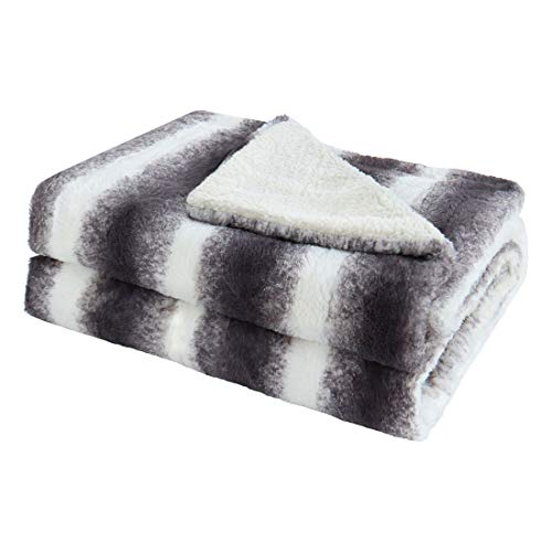 Fleece Blanket Berber (uxcell Luxury Fuzzy Faux Fur Blanket, Warm Plush Blanket Twin Size Gradient Ombre Decorative Microfiber Blanket, Reversible Berber Fleece Bed Blankets - Gray and White - 59