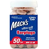 Mack's Ultra Soft Foam Earplugs, 50 Pair - 32dB Highest NRR, Comfortable ear plugs for sleeping, snoring, work, travel and loud events - Pack of 2