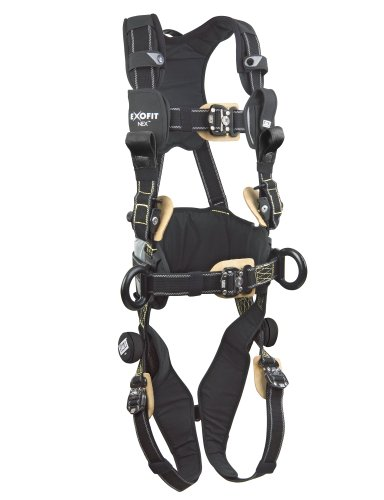 3M DBI-SALA ExoFit NEX 1113323 Full Body Arc Flash Harness, Back/Front Web Rescue Loops, Belt w/pad, PVC Coated Alum Side D-Rings, Locking QC Leg Straps, X-Large, Black by 3M Fall Protection Business (Image #4)