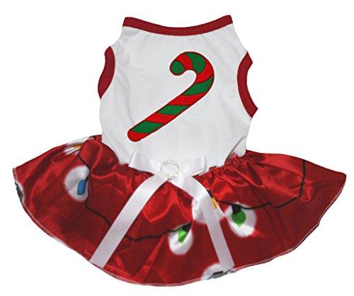 Petitebella Puppy Cloth Dog Dress Xmas Stick White Shirt Illumination Red Tutu (Dog Christmas Tutu)