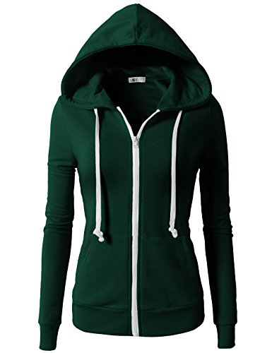 - H2H Women's Women's Basic Lightweight Zip Hooded Jackets with Solid Colors Green US M/Asia M (CWOHOL020)