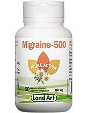 Migraine-500 - Headache & Migraine Relief - Natural Formula - 60 Capsules - Vegan - Gluten Free - GMO Free - Made in Canada