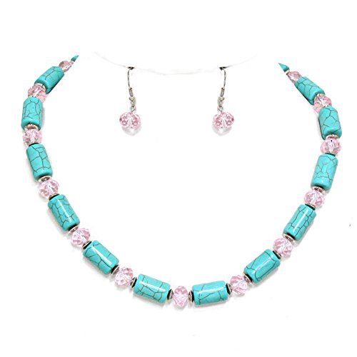 O2 Southwest Style Crackle Finish Teal Tube Bead & Light Pink Faceted Glass Bead Necklace 17