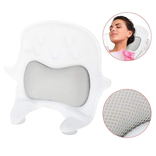 Bath Pillow, Bathtub Spa Mat with Easy Drying Air Mesh & 5 Extra-Strong Suction Cups Design for Showering Bathing Headrest Neck Support ()